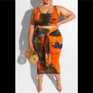 Tie-Dye Two Piece Skirt Set
